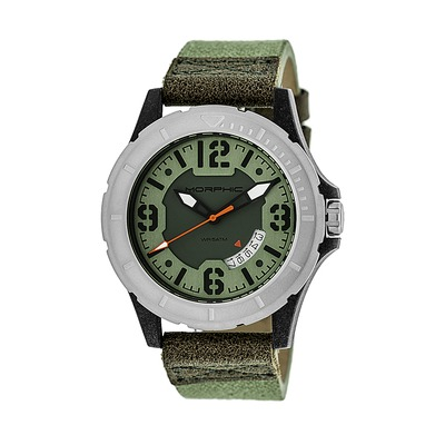 Morphic M47 Series Canvas-Overlaid Leather-Band Watch w/ Date - Black/Gold MPH4704