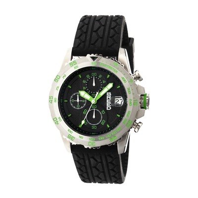 Breed Socrates Chronograph Men's Watch w/ Date-Silver/Green BRD6302