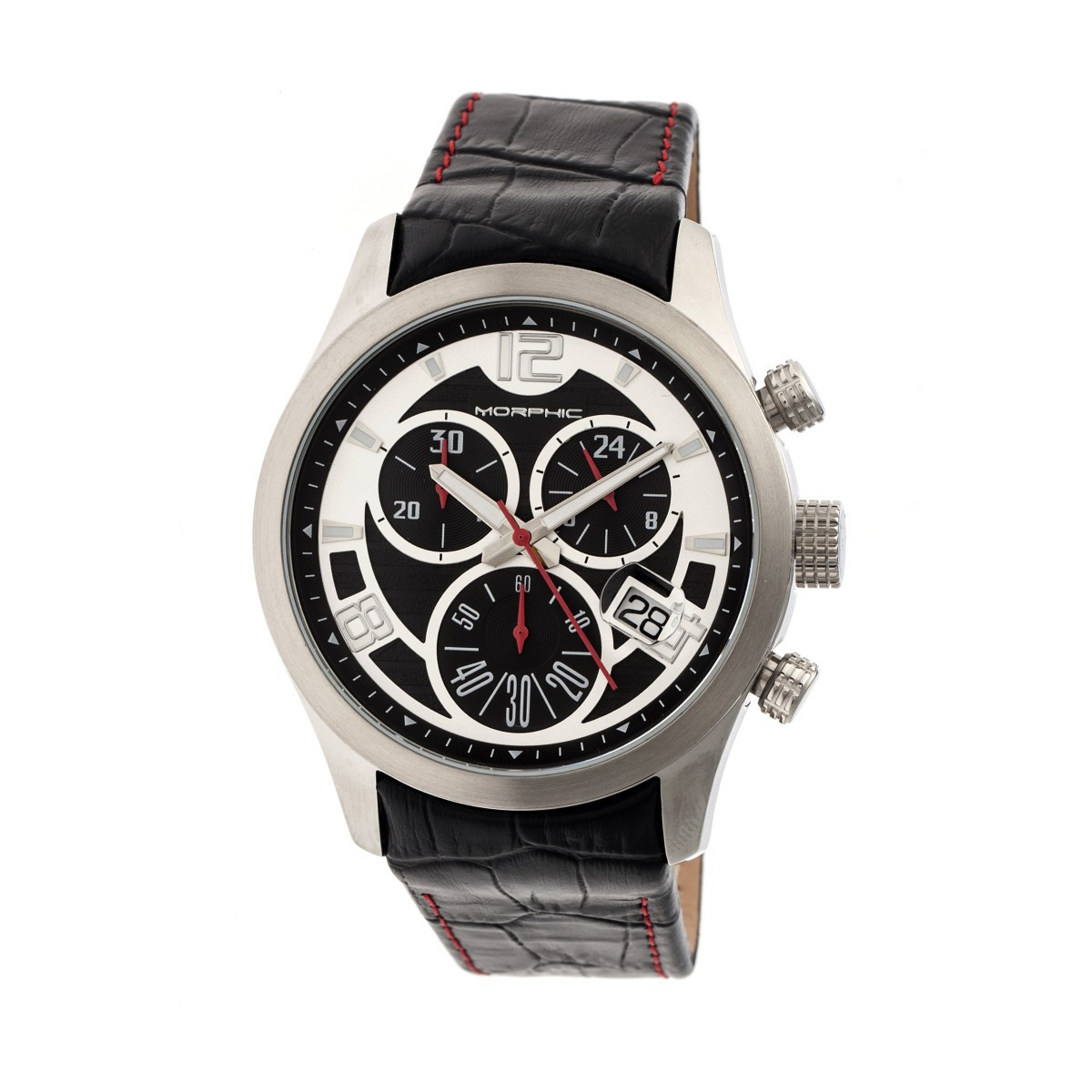 Morphic M37 Series Leather-Band Chronograph Watch - Silver MPH3701