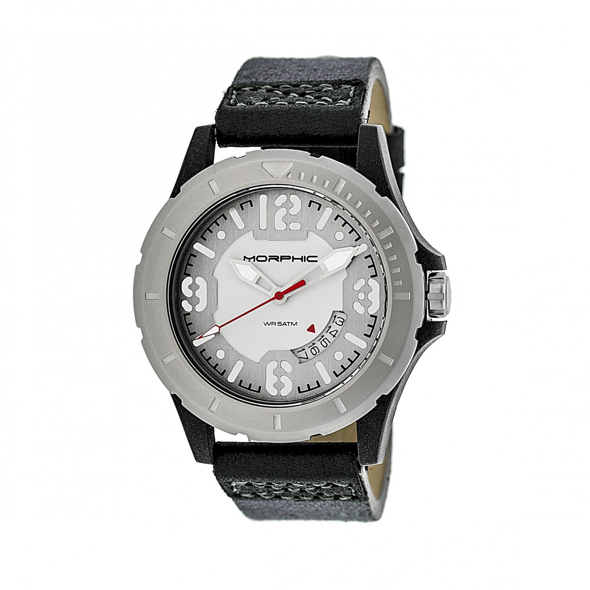 Morphic M47 Series Canvas-Overlaid Leather-Band Watch w/ Date - Grey/White MPH4701