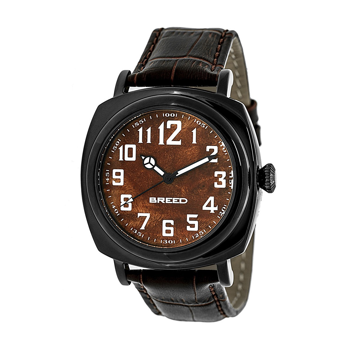 Breed Mozart Wood-Dial Leather-Band Men's Watch-Black/Brown BRD4204