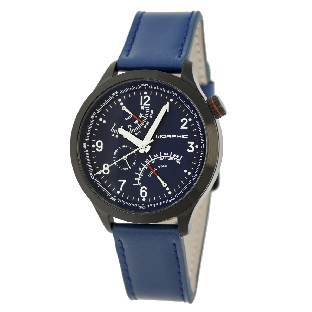 Morphic M44 Series Dual-Time Leather-Band Watch w/ Retrograde Date - Black/Blue MPH4405