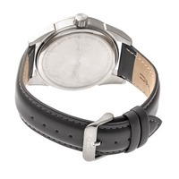 Morphic M63 Series Leather-Band Watch w/Date - Silver/Black MPH6301