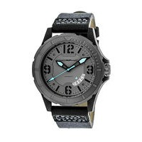 Morphic M47 Series Canvas-Overlaid Leather-Band Watch w/ Date - Grey/Charcoal MPH4703